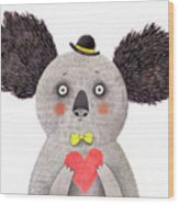 Koala With Heart. Watercolor And Pencil Wood Print