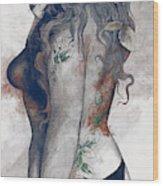 Koi No Yokan - Blue Rust - Erotic Drawing, Sexy Tattoo Girl In Thong Biting An Apple Wood Print
