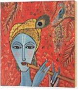 Krishna With Flute Wood Print