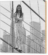 Kusama On The Brooklyn Bridge Wood Print