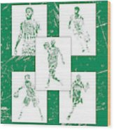 Kyrie Irving Boston Celtics Panel Pixel Art 1 Wood Print
