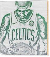 Kyrie Irving Boston Celtics Water Color Pixel Art 30 Wood Print