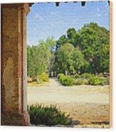 La Purisima Mission Garden From The Arcade Wood Print