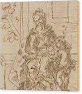 La Virgen Ensena A Leer Al Nino  Wood Print