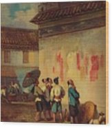 Labourer Reading A Proclamation, Macao Wood Print