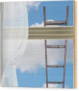 Ladder Against Window Pane Wood Print