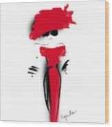 Lady In Her Red Dress Wood Print