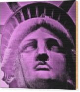 Lady Liberty In Pink Wood Print