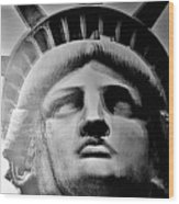 Lady Liberty Red White And Blue Wood Print