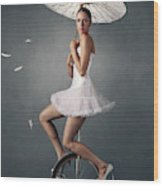 Lady On A Unicycle Wood Print