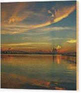 Lagoon Sunbeam Sunrise Wood Print