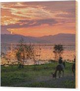 Lake Chapala Sunset And Horses Wood Print