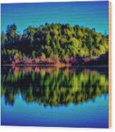 Lake Double Reflection Wood Print