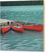 Lake Louise Canoes Wood Print