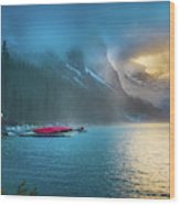 Lake Louise Canoes In The Morning Wood Print