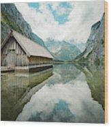 Lake Obersee Boat House Wood Print