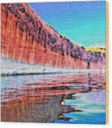 Lake Powell With Cliff Reflections Wood Print