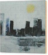 Lake Shore Misty Morn' Wood Print