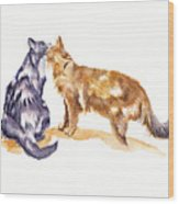 L'amour - Cats In Love Wood Print