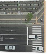 Land Vehicles Crossing Pedestrian Wood Print