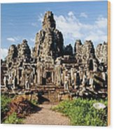 Landscape Photo Of Bayon Temple In Wood Print