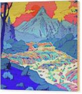 Landscape River Wood Print