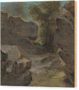 Landscape With Rocks  Augerville  Wood Print