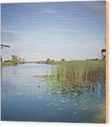 Landscape With Windmills, Kinderdijk Wood Print