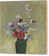 Large Green Vase With Mixed Flowers, 1912 Wood Print