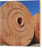 Large Vintage Mooring Buoys Wood Print