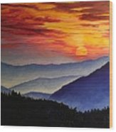 Laurens Sunset And Mountains Wood Print
