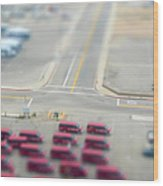 Lax Airport Parking Lot - Tilt Shift Wood Print