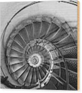 Lblack And White View Of Spiral Stairs Inside The Arch De Triump Wood Print