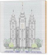 Lds Salt Lake Temple - Colorized Wood Print