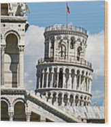 Leaning Tower Of Pisa, Tuscany, Italy Wood Print
