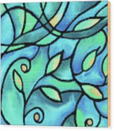 Leaves And Curves Art Nouveau Style II Wood Print