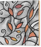Leaves And Curves Art Nouveau Style Xii Wood Print