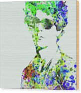 Legendary Bob Dylan Watercolor Wood Print