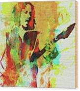 Legendary Kirk Hammett Watercolor Wood Print
