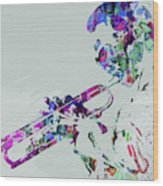 Legendary Miles Davis Watercolor Wood Print