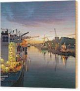 Leixoes Harbour Wood Print