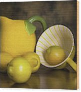 Lemons With Lemon Shaped Pitcher Wood Print
