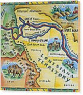 Lewis & Clark Expedition Map Wood Print