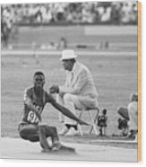 Lewis In The Long Jump At Olympics Wood Print