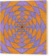 Light Violet On Blue, Yellow On Red Fractal Pattern Wood Print