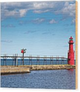 Lighthouse And Pier On Lake Michigan Wood Print