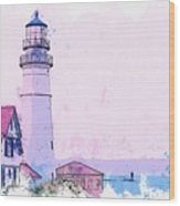 Lighthouse, Cape Elizabeth, United States -  Watercolor By Ahmet Asar Wood Print