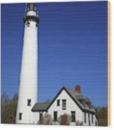 Lighthouse - Presque Isle Michigan Wood Print