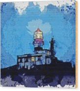 Lighthouse, Watercolor, C2019, By Adam Asar - 19 Wood Print