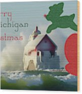 Lightouse Christmas Wood Print